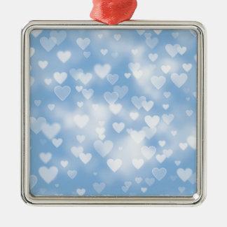 Pastel Blue Heart Bokeh Ornament