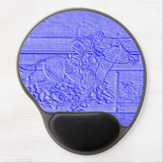Pastel Blue Horse Racing Thoroughbred Racehorse Gel Mouse Pad