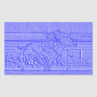 Pastel Blue Horse Racing Thoroughbred Racehorse Rectangular Sticker