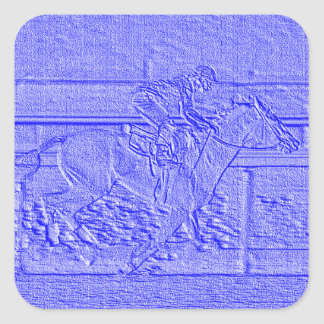 Pastel Blue Horse Racing Thoroughbred Racehorse Square Sticker