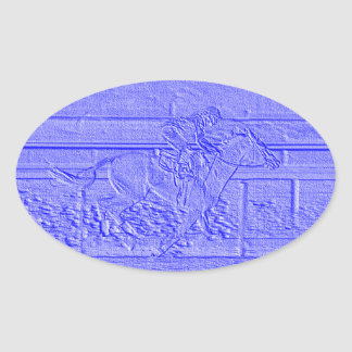 Pastel Blue Horse Racing Thoroughbred Racehorse Oval Sticker
