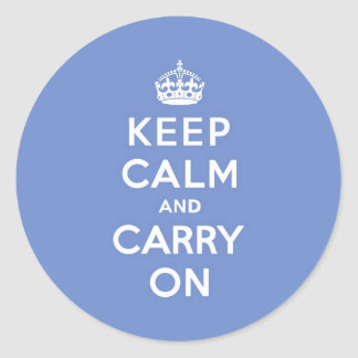 Pastel Blue Keep Calm and Carry On Classic Round Sticker