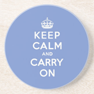 Pastel Blue Keep Calm and Carry On Coaster
