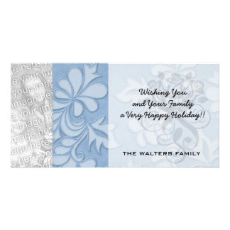 pastel blue leaf swirl floral damask photo greeting card