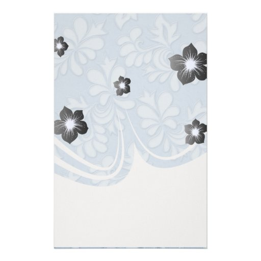 pastel blue leaf swirl floral flower damask customized stationery