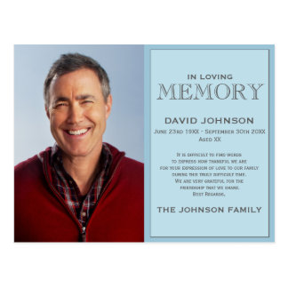 Pastel Blue Memorial Family Acknowledgement Postcard