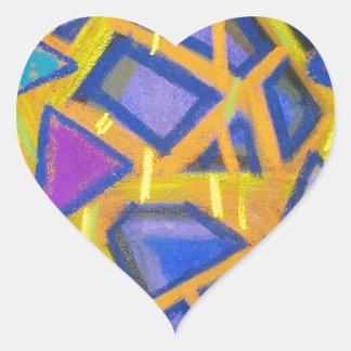 Pastel Blue Mirror Fragments Heart Sticker