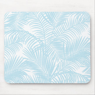 Pastel blue modern simple tropical palm tree flora mouse mat