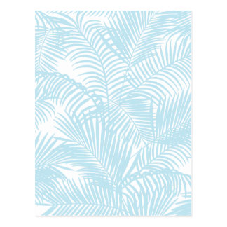Pastel blue modern simple tropical palm tree flora postcard