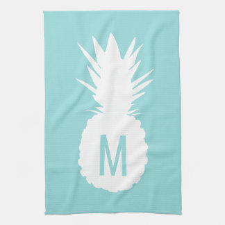 pastel blue monogram pineapple tea towel