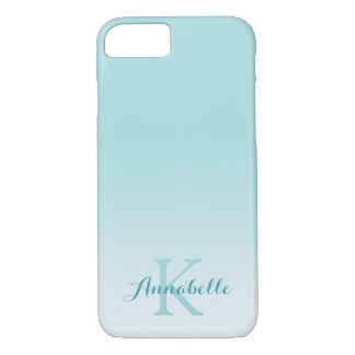 Pastel Blue Ombre Name & Monogram iPhone 8/7 Case