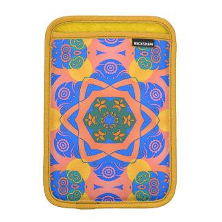 pastel blue orange and green geometric floral iPad mini sleeve
