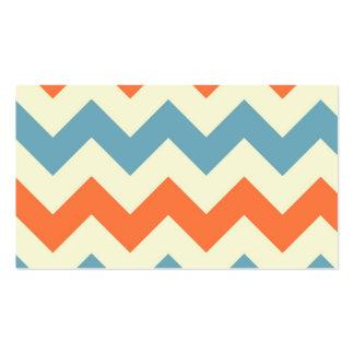 Pastel Blue Orange Chevron Stripes Business Cards