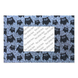 Pastel blue owl glitter pattern photo art