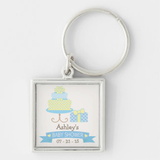 Pastel Blue & Pale Yellow Heart Cake Baby Shower Key Chains