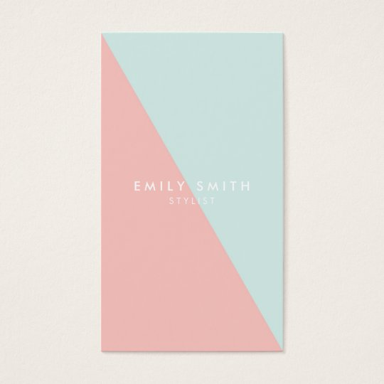 Pastel Blue Pink Social Media Colour Block Business Card