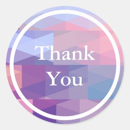 Pastel Blue Purple Geometric pattern Thank You Round