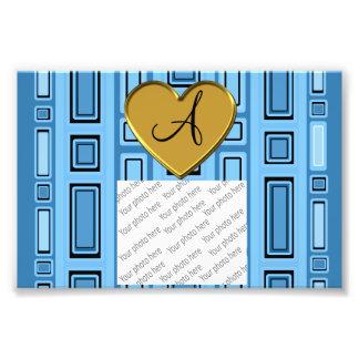 Pastel blue retro squares monogram photo art
