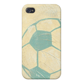 Pastel Blue Soccer Ball by Chariklia Zarris iPhone 4 Cover