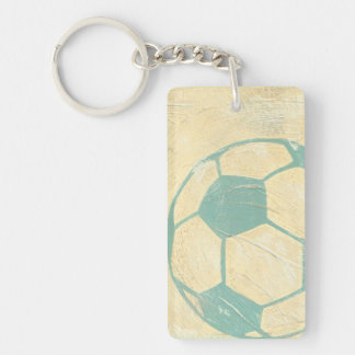 Pastel Blue Soccer Ball by Chariklia Zarris Key Ring