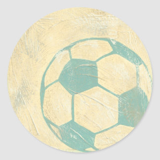 Pastel Blue Soccer Ball by Chariklia Zarris Round Sticker