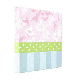 Pastel Blue Striped Pink Floral Green Polka Dots Canvas Print
