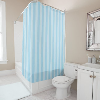 Pastel Blue Striped Shower Curtain