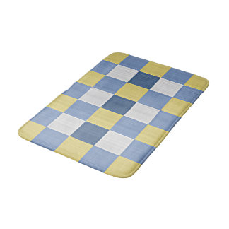 Pastel Blue Teal Yellow White Checkered Pattern Bath Mat