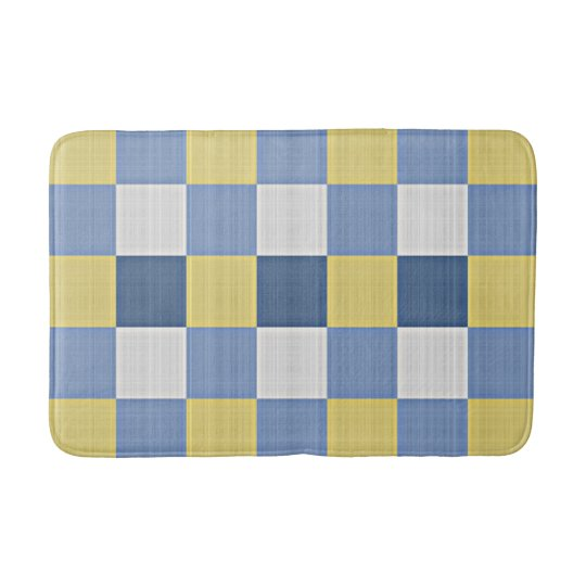 Pastel Blue Teal Yellow White Chequered Pattern Bath