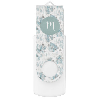 Pastel blue watercolor peonies pattern USB flash drive