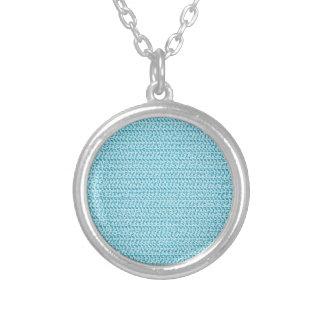 Pastel Blue Weave Mesh Look Round Pendant Necklace