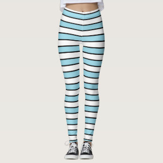 Pastel Blue, White and Black Stripes Leggings