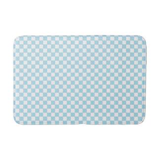 Pastel Blue White Classic Retro Checkered Pattern Bath Mat