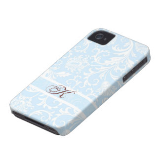 Pastel Blue & White Floral Damasks Customized iPhone 4 Cases