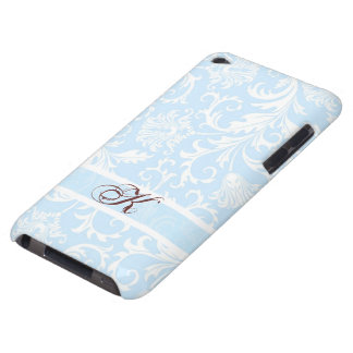 Pastel Blue & White Floral Damasks Customized iPod Touch Case-Mate Case