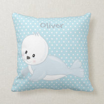 Pastel Blue-White PolkaDot•Baby Arctic Seal•Custom Cushion