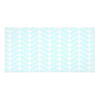 Pastel Blue Zigzag Pattern inspired by Knitting. Photo Greeting Card