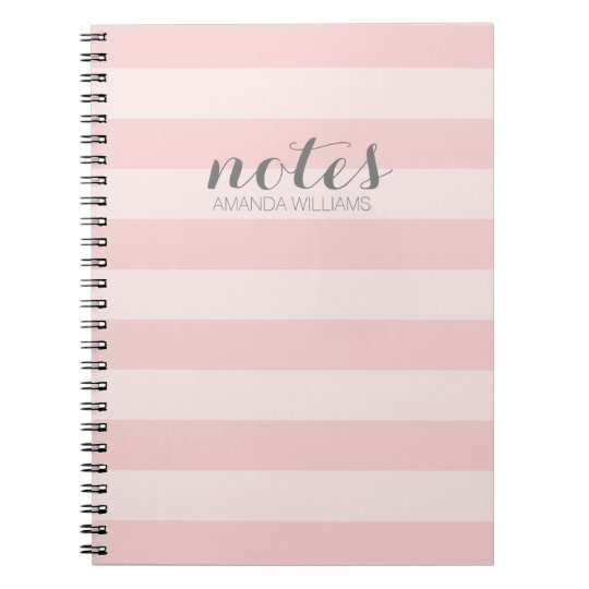 Pastel Blush Pink and Grey Notes for Women Spiral Notebook