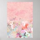 Pastel blush watercolor ombre floral watercolor poster