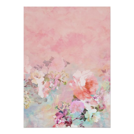 Pastel blush watercolor ombre floral watercolor poster