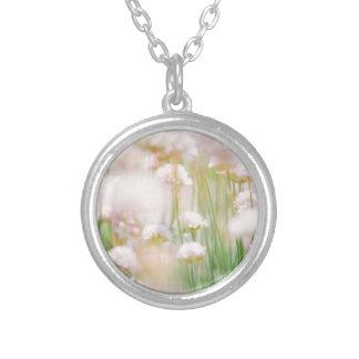 Pastel Bokeh Flowers, Blurry Dreamy Photo Round Pendant Necklace