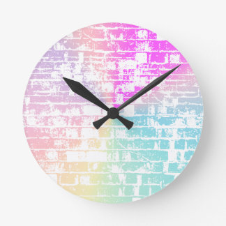 Pastel Bricks Round Clock