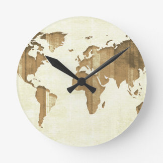 Pastel Brown Stripes Map Round Clock
