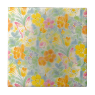 Pastel Butterflies and Flowers Small Square Tile