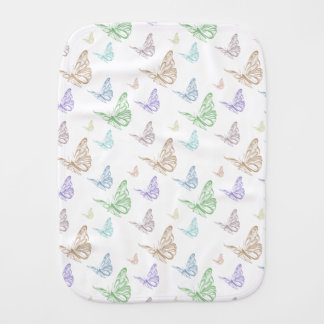 Pastel Butterflies Burp Cloth