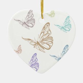 Pastel Butterflies Ceramic Heart Decoration