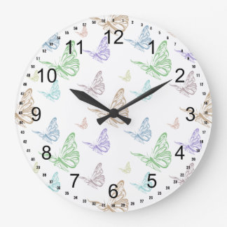 Pastel Butterflies Large Clock