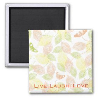Pastel Butterflies Live Laugh Love Square Magnet
