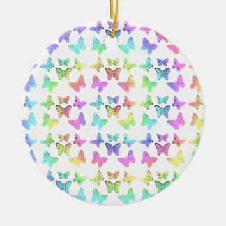 Pastel Butterflies Swirl Pattern Round Ceramic Decoration