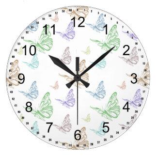 Pastel Butterflies Wall Clock